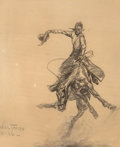 Fine Art - Work on Paper:Drawing, William R. James (1892-1942). Bucking Bronco, 1926. Charcoalon board. 26 x 22 inches (66.0 x 55.9 cm). Signed and dated...