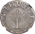 Colonials, 1652 SHILNG Pine Tree Shilling, Large Planchet, No Pellets at Trunk -- Cracked Planchet -- VF30 ...