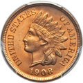 Indian Cents, 1908 1C MS66+ Red PCGS. CAC. Snow-6....
