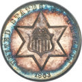 Three Cent Silver, 1863 3CS MS64 PCGS. Gold CAC....