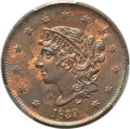 Large Cents, 1839 1C Booby Head, N-14, R.3, MS64 Red and Brown PCGS....