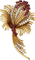 Estate Jewelry:Brooches - Pins, Ruby, Diamond, Gold Brooch, French. ...