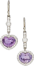 Estate Jewelry:Earrings, Sapphire, Diamond, White Gold Earrings, David J. Thomas. ...