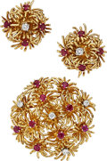 Estate Jewelry:Suites, Ruby, Diamond, Gold Jewelry Suite. ... (Total: 2 Items)