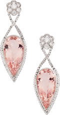 Estate Jewelry:Earrings, Morganite, Diamond, White Gold Earrings . ...