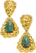 Estate Jewelry:Earrings, Emerald, Gold Earrings, David Webb. ...