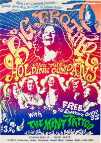 Janis Joplin/Big Brother And The Holding Company Selland Arena Concert Poster AOR-3.30 (Baba Love Company, 1968). Very R...