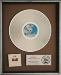 Music Memorabilia:Awards, Doobie Brothers Takin' It To The Streets RIAA PlatinumRecord Sales Award (Warner Bros. BS 2899, 1976)....