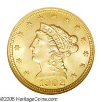 1902 $2 1/2 MS66 NGC. Lustrous yellow-gold surfaces with faint tan and greenish undertones, and sharply struck throughou...