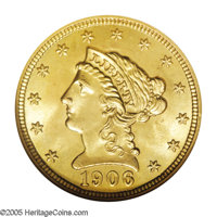 1906 $2 1/2 MS66 NGC. A delightful example of Quarter Eagle gold with warm peach-gold surfaces and faint greenish undert...