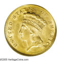 Three Dollar Gold Pieces: , 1878 $3 MS64 PCGS. Ebullient luster on both sides, with copper-goldfields and highpoint hints of hazel, gives this coin st...