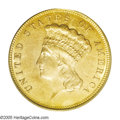 Three Dollar Gold Pieces: , 1884 $3 MS63 PCGS. A scarce and desirable issue in all grades, the1884 Three Dollar gold piece boasts an original mintage ...