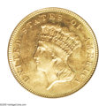Three Dollar Gold Pieces: , 1884 $3 MS63 PCGS. Bright orange and olive-gold colors alternateacross this moderately prooflike representative. Sharply s...