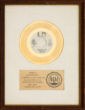 "Music Memorabilia:Awards, Bobby Womack ""Lookin' for a Love"" RIAA White Mat Gold Record Award(United Artists UA-XW375-W, 1974)...."