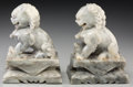 Asian:Chinese, A Pair of Chinese Carved Marble Foo Lions, 20th century. 7-1/8inches high (18.1 cm). PROPERTY FROM A PASADENA, CA ESTATE...(Total: 2 Items)