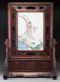 Asian:Chinese, A Chinese Porcelain and Carved Rosewood Table Screen. 30 h x 20-1/2w x 9-3/4 d inches (76.2 x 52.1 x 24.8 cm). PROPERTY F...