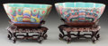 Asian, A Near Pair of Chinese Porcelain Moth Bowls on Rosewood Stands.Marks: (seals to undersides). 6-5/8 x 9 x 6 inches (16.8 x 2...(Total: 4 Items)