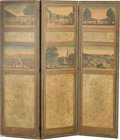Decorative Arts, French:Other , A French Folding Screen: Vues d'Optique des Jardins, 19th century.61 inches high x 56-1/4 inches wide (154.9 x 142.9 cm). ...