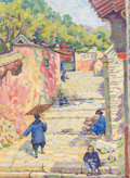 Fine Art - Painting, American:Modern  (1900 1949)  , Mary Augusta Mullikin (American/Chinese, 1874-1964). CitySteps. Oil on canvas . 21-3/4 x 16 inches (55.2 x 40.6 cm).Si...