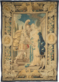 A Flemish Silk and Wool Tapestry: Mark Antony and Cleopatra, 17th century 10 feet 9 in. long