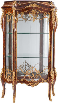 A Pair of Louis XV-Style Gilt Bronze-Mounted Mahogany Vitrines 71 h x 44 w x 17 d inches (180.3 x 111.8 x 43.2 cm)