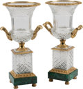Decorative Arts, Continental, A Pair of Neoclassical Cut-Crystal and Gilt Bronze-Mounted Urns onMalachite Bases. 17-1/2 h x 9 w x 8 d inches (44.5 x 22.9...(Total: 2 Items)