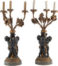 Decorative Arts, French:Lamps & Lighting, A Pair of Louis XV-Style Gilt and Patinated Bronze Three-LightCandelabra. 27-1/2 h x 12 w x 12 d inches (69.9 x 30.5 x 30.5...(Total: 2 Items)