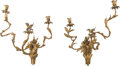 Decorative Arts, French:Other , A Pair of Louis XV Giltwood Three-Light Wall Sconces, circa 1755.24 inches high x 19 inches wide (61.0 x 48.3 cm). PROPER... (Total:2 Items)