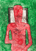 Works on Paper, Rufino Tamayo (Mexican, 1899-1991). Hombre Rojo, 1976. Mixography in colors. 30-3/8 x 22-1/2 inches (77.2 x 57.2 cm) (sh...