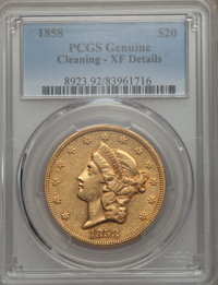 1858 $20 -- Cleaning -- PCGS Genuine. XF Details. NGC Census: (25/416). PCGS Population: (33/266). CDN: $2,300 Whsle. Bi...