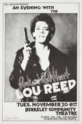 Music Memorabilia:Posters, Lou Reed Berkeley Community Theatre Concert Poster Signed By Randy Tuten (Bill Graham, 1976). ...
