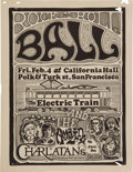Music Memorabilia:Posters, Electric Train/Charlatans California Hall Concert Handbill (FamilyDog 1966). Rare....