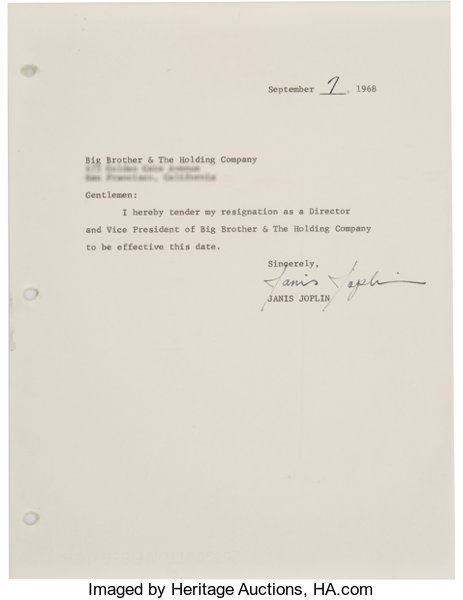 Janis joplin signed document her resignation letter as lot 89410 music memorabiliadocuments janis joplin signed document her resignation letter as directorand vice expocarfo Images