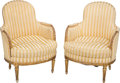 Furniture , A Pair of Louis XVI-Style Giltwood Bergères. Late 19th century. Ht. 36 x 26-1/2 x 25 in.. ... (Total: 2 Items)