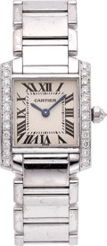 Estate Jewelry:Watches, Cartier Lady's Diamond, White Gold Tank Francaise Watch. ...