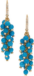 Estate Jewelry:Earrings, Turquoise, Diamond, Gold Earrings, Aletto Brothers . ...
