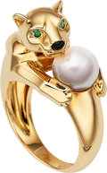 Estate Jewelry:Rings, Cultured Pearl, Emerald, Black Onyx, Gold Ring, Cartier. ...