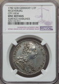 German States:Regensburg, German States: Regensburg. Free City 1/2 Taler 1782-GCB UNC Details (Surface Hairlines) NGC,...