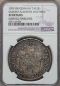 German States:Saxony, German States: Saxony. Christian II Johann Georg & August Taler 1593-HB XF Details (Surface Hairlines) NGC,...