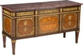 Furniture : French, A Louis XV-Style Gilt Bronze-Mounted Marquetry Inlaid Commode, late19th-early 20th century. 37 h x 67-1/2 w x 24 d inches (...