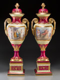 Ceramics & Porcelain, A Large Pair of Royal Vienna-Style Partial Gilt Porcelain Covered Vases, Austria, late 19th century. Marks: (beehive mark in... (Total: 2 Items)