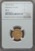 1915-S $2 1/2 Panama-Pacific Quarter Eagle AG3 NGC. NGC Census: (0/1952). PCGS Population: (1/2451). Mintage 6,749. ...(...