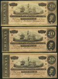 Confederate Notes:1864 Issues, T67 $20 1864 PF-3 Cr. 505 Three Examples.. ... (Total: 3 notes)