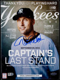 Baseball Collectibles:Publications, 2014 Yankees Magazine Signed by Derek Jeter. ...