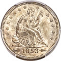 Seated Quarters, 1853/4 25C Arrows and Rays MS64 PCGS....