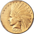 Indian Eagles, 1907 $10 Wire Rim MS64+ PCGS Secure. CAC....