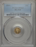 California Fractional Gold , 1864 50C Liberty Octagonal 50 Cents, BG-918, R.4, MS64 PCGS. PCGSPopulation: (8/0). NGC Census: (1/0). ...
