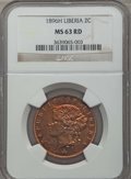 Liberia, Liberia: Republic 2 Cents 1896-H MS63 Red NGC,...