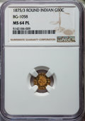 California Fractional Gold: , 1875/3 50C Indian Round 50 Cents, BG-1058, R.3, MS64 Prooflike NGC.NGC Census: (6/2). ...