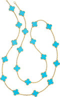 Estate Jewelry:Necklaces, Turquoise, Gold Necklace, Van Cleef & Arpels. ...